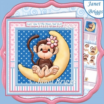 MONKEY LOVE YOU TO THE MOON & BACK 8x8 Decoupage & Insert Kit