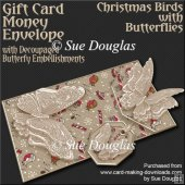 Christmas Birds with Butterflies Card/Money Envelope Mini Kit
