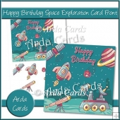 Happy Birthday Space Exploration Card Front