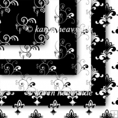 Black And White Set 3 Flourish Papers