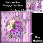 Pansies and Lace Decoupage Card Front