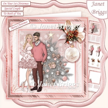 ROSE GOLD CHRISTMAS TREE & COUPLE 7.5 Decoupage & Insert Kit