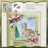 quiet church card front with decoupage