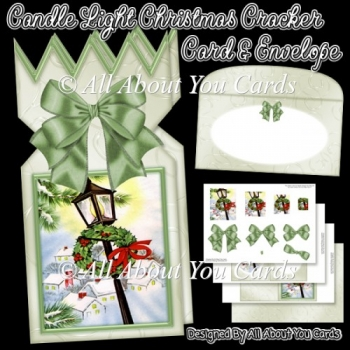 Candle Light Christmas Cracker Card & Envelope