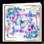 Blue Flowers and Butterflies Mini Kit