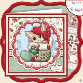 CHRISTMAS KITTY IN BOOT 7.5 Decoupage & Insert Mini Kit