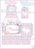 Cottage Chic Happy Birthday Gift Tote and Tag Set