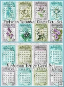 Victorian Bingo Card sets in 2 Styles & 2 Sizes Toppers/Inserts