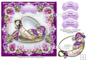 "Teacup Pansy Mouse - 8"" x 8"" Card Topper & Decoupage"