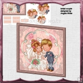 Bridal couple card front with petal stackers