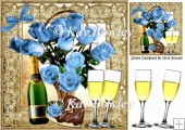 blue Roses with heart chocolate & champagne 8x8