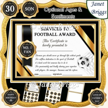 FOOTBALL Humorous A5 Certificate & Ages Card Kit