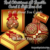 Red 3D Bauble Christmas Tree Ornament With Gift Box & Card