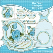 Blue Pansy Scalloped Easel Card Download