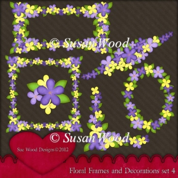 Floral Frames and Decorations Designer Resource Set 4