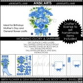 Birth Flower and Gem September: Tall Shaped Boot Card