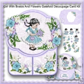 Girl With Braids And Flowers Gatefold Decoupage Card Kit