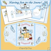 Having Fun in the Snow! Scalloped Four Fold Card