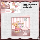 teddy bears tea party card with decoupage