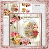 Cottage rose card with decoupage