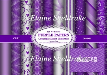 Assorted Purple Papers -Ten A4 Backing Papers - For Paper Crafts