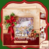 Holly Ribbon and Winter Cottage 7.8 Decoupage Mini Kit