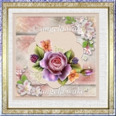 A Perfect rose 7x7 card with decoupage