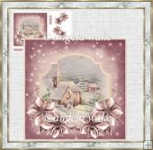 Church in the moonlight 7x7 card with decoupage