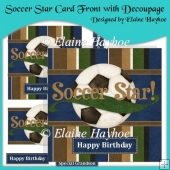 Soccer Star Card Front with Decoupage
