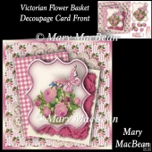 Victorian Flower Basket Decoupage Card Front