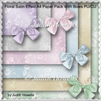 Floral Satin Effect A4 Paper Pack With Bows