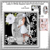 Lady In White Square Card Front And Insert