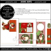 Vintage Christmas Cards and Photo Aperture Toppers