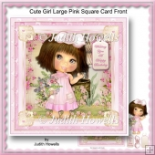 Cute Girl Large Pink Square Card Front