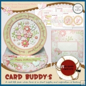 Floral Spray Decoupage Plate Easel Card Kit
