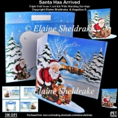 Santa Has Arrived Triple Fold Card Kit With Matching Envelope