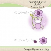 Ready to Print Card - Bear with Flowers LILAC(Retiring in July)