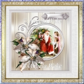 Father Christmas with children 7x7 card with decoupage