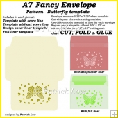 A7 Fancy Envelope - Pattern - Butterfly template