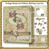 Vintage Roses And Ribbon Birthday Card Kit