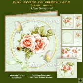 Pink Roses on Green Lace