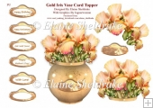 Gold Iris In A Vase Card Topper With Decoupage