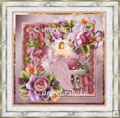 Lady in the rose garden 7x7 card with decoupage
