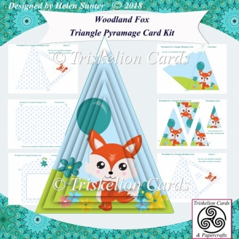 Woodland Fox Triangle Pyramage Card & Envelope Kit