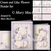 Cream and Lilac Flowers - Notelet Set