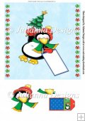 8X8 Happy Penquin Topper/Card Front