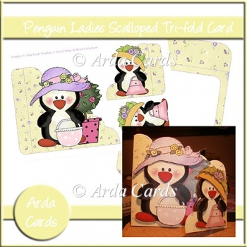 Penguin Ladies Tri-Fold Card