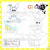 Boy Bunny in a Shell and Sentiment Digital Stamps