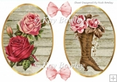 two lovely toppers with roses and vintage boot with bows