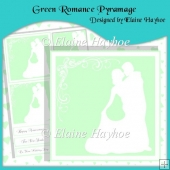 Green Romance Pyramage with Hearts Backing Paper
